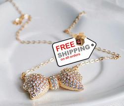 Bowknot Rhinestone Jewelry Pendant Necklaces Creative Fashion - $14.00