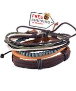 1Set 4pcs UP02432 Adjustable Leather Bracelet Cuff Women Men`s Casual Je... - $17.00