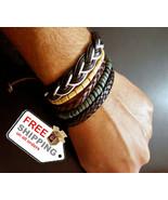 1Set 4pcs UP02433 Adjustable Leather Bracelet Cuff Women Men`s Casual Je... - $17.00