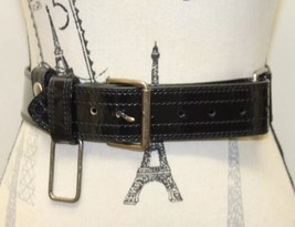Jacob Canada Black Women Belt Medium Antique Gold Buckle 100% Leather - €12,99 EUR