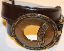 Women 100% Leather Brown Small Adjustable Brass Buckle Small Waist 30 In... - €34,66 EUR