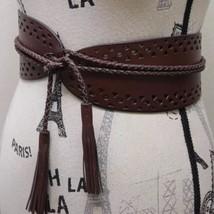 NWOT Steve Madden Boho Women Belt Braided Tussle Leather S/M Eyelet Embo... - €34,66 EUR
