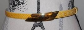 VTG Women Belt Genuine Reptile Yellow Women Gold Buckle Medium Canada - €34,66 EUR