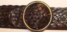 Guess Braided Elastic Wide Brown Belt Sz S/M Boho Cowboy Brass Metal Buckle - €30,32 EUR