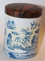 VTG Tin Can Blue & White Asian Design Container Emperor Castle Blossom - $37.39