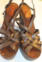 Michael Kors Women Shoes Wedge Brown Braided Wooden Leather 8 To 8.5 - $37.39