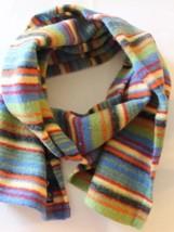 Gap Men Scarf 58x11 100% Lamb Wool Yellow Green Red Blue Stripe Winter - $28.04