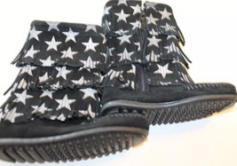 New Minnetonka Black Winter Boots Kid Girl Fringe Star 100% Leather 10 Z... - $56.09