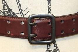 Jacob Women Brown Belt Medium 100% Leather Chrome Buckle Ring Connector - €12,99 EUR
