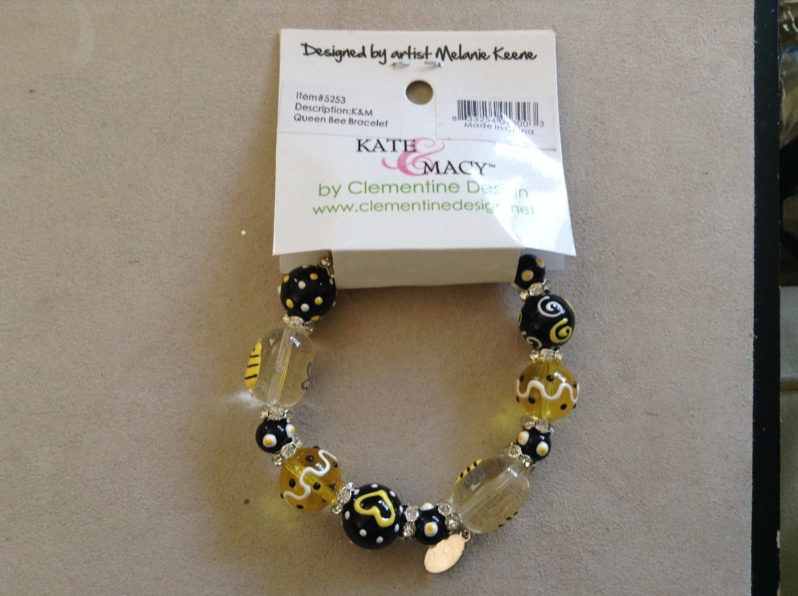 New Kate and Macy Hand Painted Glass Bracelet Queen Bee