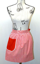 Vintage Reversible Design Half Apron Red & White Stripes/Solid Red Feels Cotton - $20.78