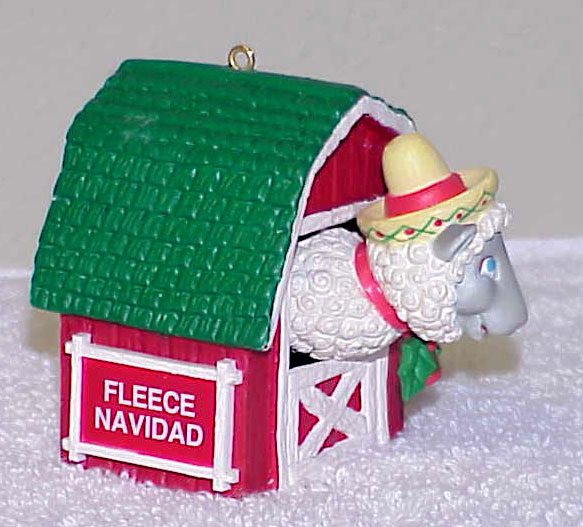 "1991 Enesco ""Fleece Navidad"" Christmas Ornament IOB"