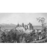 SWITZERLAND View of Lausanne & Castle - 1861 Engraving Print - $18.36