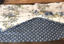 Waverly Valance Coventry Hill Chambray Blue Floral Fabric Tucked Double ... - $24.49