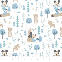 Disney Little Meadow Mickey Mouse and Little Bear 100% cotton fabric by ... - $9.79