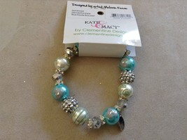 New Kate and Macy Hand Painted Glass Bracelet Snow Fun