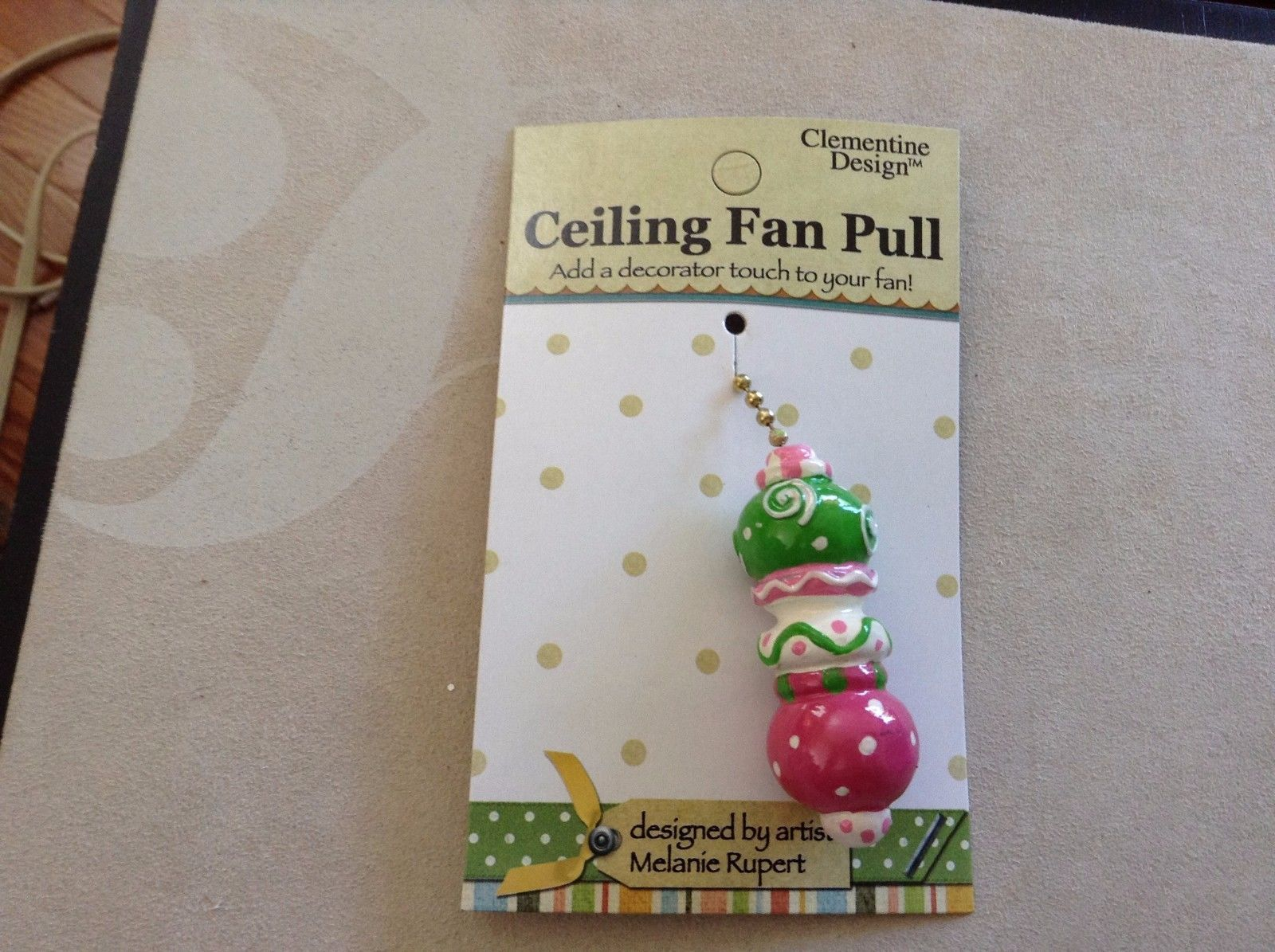New Clementine Design Ceiling Fan Pull Pink Green Speres Boots