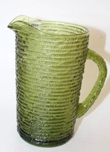 Vintage Collectible Glass Anchor Hocking SORENO 1960s Avocado Green Pitcher - $17.88