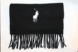 Ralph Lauren Polo Men Scarf Tassel Made In Italy 100% Virgin Wool Black ... - $54.31