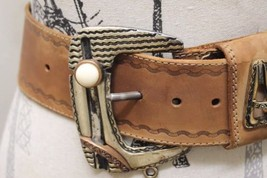 Women Made in Italy Belt 100% Leather Cowboy Rodeo Solid Metal Buckle Me... - €38,67 EUR