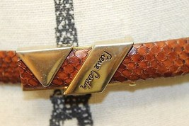 Vintage Pierre Cardin Paris Women Reptile Skin Brown Snake Belt Gold Buc... - €43,33 EUR