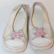 Crocs Kid Shoes Ballets Canvas Pink White Sz Ju... - $11.29