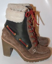 New Sperry Women Boots Lace Up Leather Brown W Black Fur Lining Sz 7 Winter - $77.24