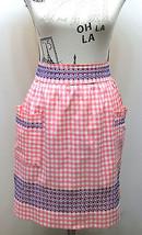 VTG Half Apron Pink/ blue Gingham Feels Cotton With Hand Crosd Stitch Design - $20.78
