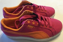 NEW Puma Canvas Women Sneaker Shoes Fuschia Orange Classic 5 Summer - $46.74