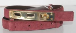 New Tory Burch Byrnn Women Belt Cabernet Gold Turn Lock XXS Leather Burg... - €86,68 EUR