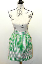 VTG Half Apron Green/ PinK Gingham Feels Cotton With Hand Cross Stitch Design - $20.78