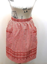 Vintage Half Apron Red Gingham Feels Cotton With Hand Cross Stitched Design - $20.78