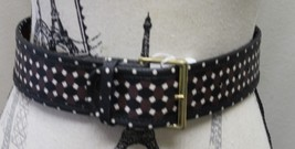 New Tory Burch Women Haber Print Belt Gold Buckle Java Brown Black Geome... - €71,94 EUR