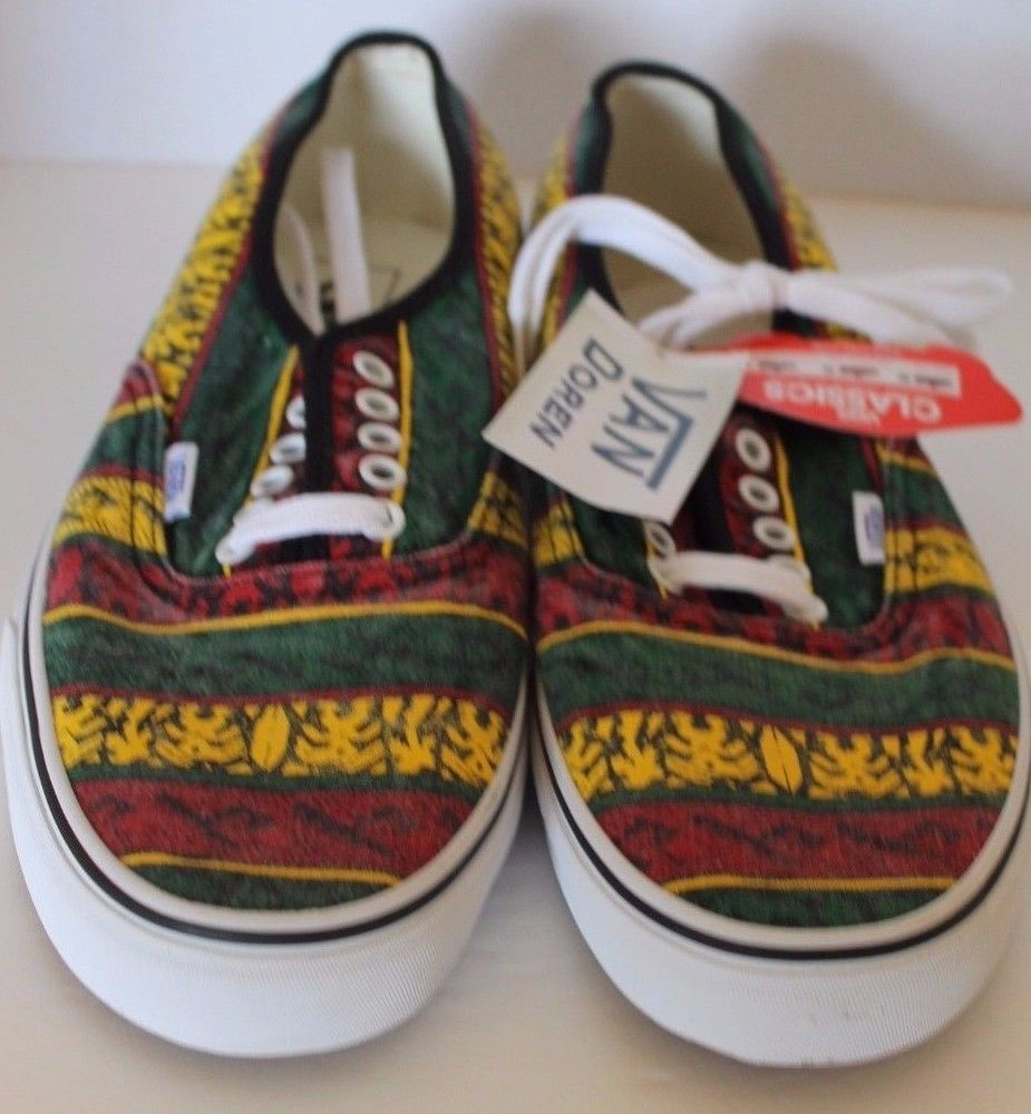 New Vans Doren Men Shoes Rasta Tribal Surf Yellow Red Green Lace Sz 11.5 Sneaker