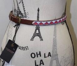 NWT Mason Scotch Women Brown Belt Beaded Boho Thin Leather Large Chrome ... - €52,00 EUR