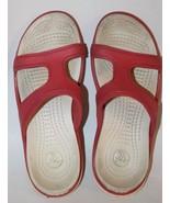 Crocs Kid Girl Flip Flop Junior Sz 4 Red White Summer - $11.29