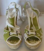 Montego Bay Club Green Floral Espadrille Women Wedge Shoes Sz 7 Gladiato... - $37.36