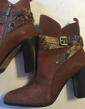 Donald Pliner Leather Suede Brown Zip Buckle Faux Snake Skin Bootie Oli 10 Boots - $140.24