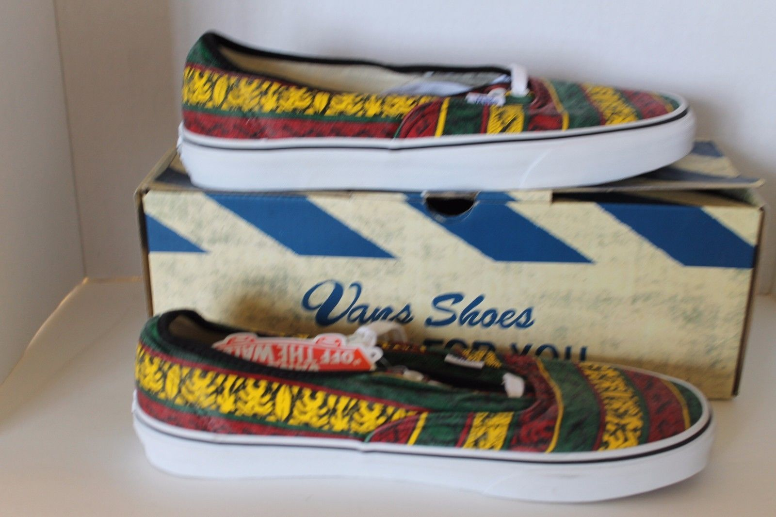 New Vans Doren Men Shoes Rasta Tribal Surf Yellow Red Green Lace Sz 11.5 Sneaker image 4