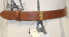 NWT Classic RL Ralph Lauren Women Brown Leather Belt Thin Gold Buckle Small - $37.39