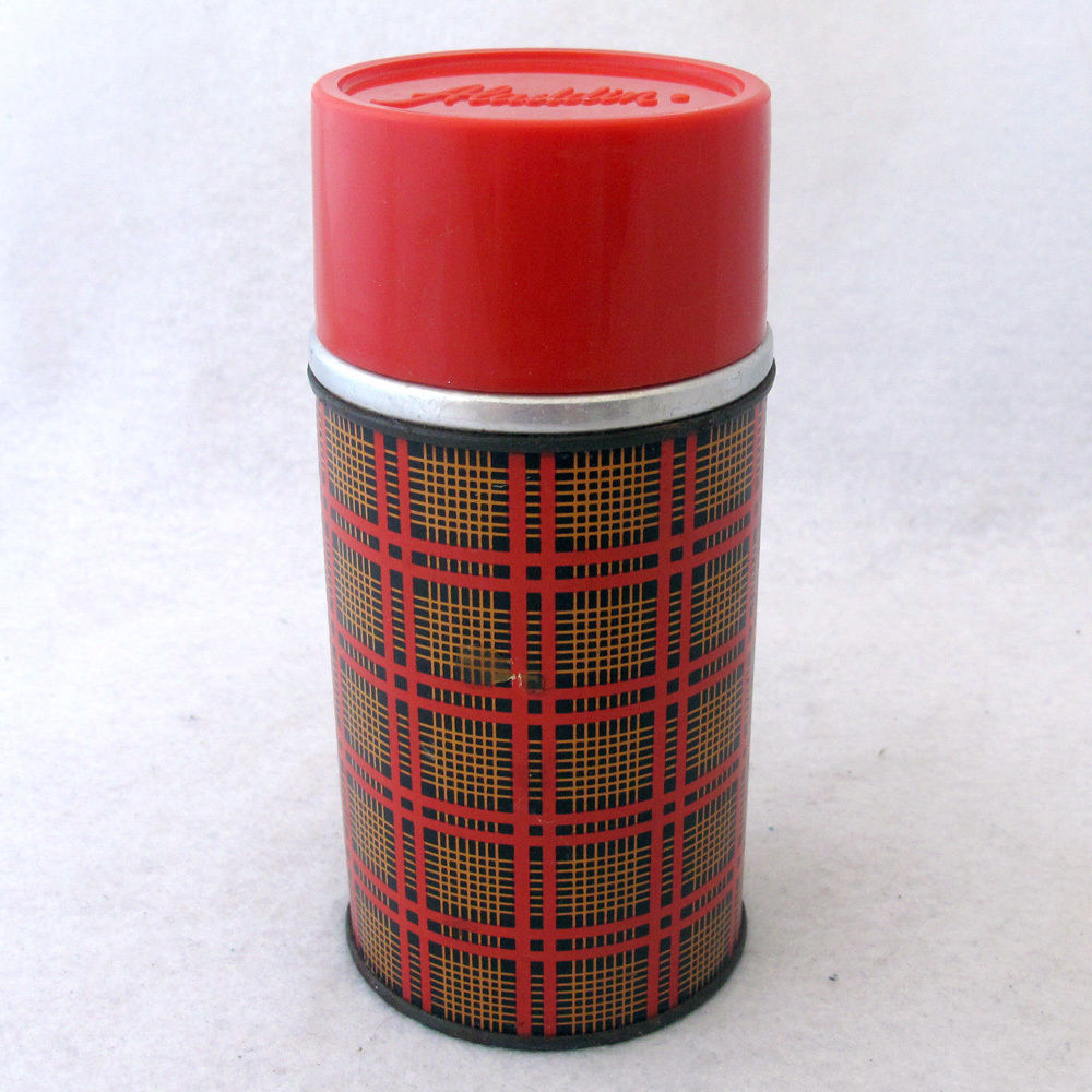 Vintage Aladdin Thermos Bottle Red Plaid Wide Mouth 10 Ounces