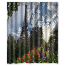 Park View Of Eiffel Tower #01 Shower Curtain Waterproof Made From Polyester - $31.26+