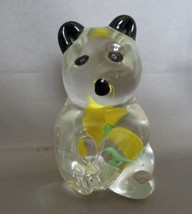 Unusual Panda Clear Glass Black Eyes Yellow Rose Inside Paperweight - $6.99