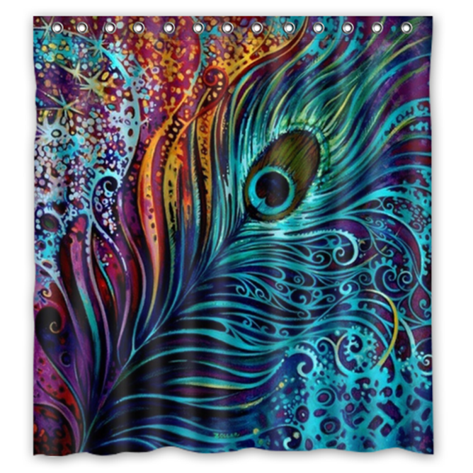 Peacock Feather #05 Shower Curtain Waterproof Made From Polyester