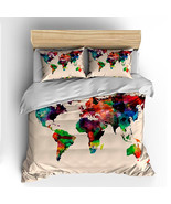 Custom Bedding Duvet Cover-Watercolors World Map -Full/Queen - Colors: N... - $284.00