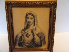 "Sacred Heart of Mary, Sepia Tone, 7 x 9 "" Old Print 1920's - $22.00"