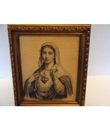 """Sacred Heart of Mary, Sepia Tone, 7 x 9 """" Old Print 1920's - $22.00"""