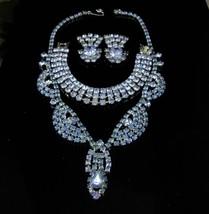 Stunning Blue Necklace Rhinestone earrings Bracelet Parure Vintage costume jewel - $155.00