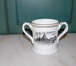 English Transferprinted Two Handle Mug Glastonbury St Johns Church Abbey... - $50.00