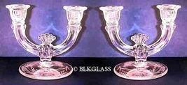Pair Paden City Glass Double Candlesticks, Spread Upraised Arms, Crow's ... - $49.99